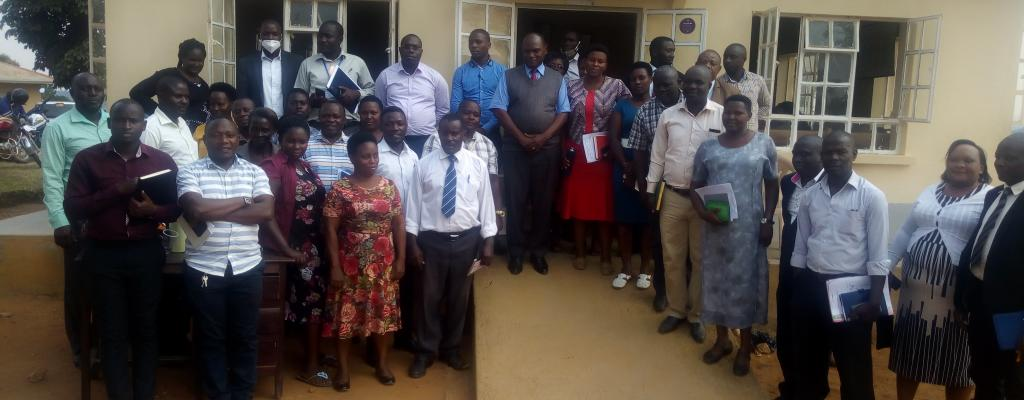 District Technical Staff Posing with the New CAO Mr. Kisembe Grace and DCAO Ms. Katusabe Beatrice